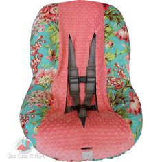 Love Bliss with Coral Toddler Car Seat Cover by sewcuteinaz, $40.00