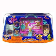 """Littlest Pet Shop Teeniest Tiniest Mini Figure 3Pack Australia Outback by Hasbro, Inc.. $24.95. Tiny toy pets, big fun!. Hasbro quality.. Littlest Pet Shop pets.. Littlest Pet Shop, """"Teeniest Tiniest Pets in the Outback"""" toy set manufactured by Hasbro, Inc. in 2008. Set includes 3 pets, storage keychain, and a playset trunk with carrying handle."""