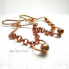 Abstract Boho Earrings. Copper Earrings by RoughMagicCreations