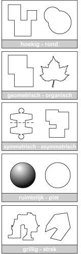 hoekig-rond/ geometrisch- organisch/ symmetrisch- organisch/ ruimtelijk-plat/ grillig-strak