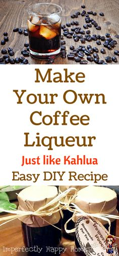 to Make Coffee Liqueur at Home Make Your Own Coffee Liqueur - Just like Kahlua. Easy DIY Recipe - Makes a Great Gift too!Make Your Own Coffee Liqueur - Just like Kahlua. Easy DIY Recipe - Makes a Great Gift too! Make Your Own Coffee, Make Your Own Wine, Make It Yourself, Homemade Kahlua, Homemade Liquor, Homemade Alcohol, Homemade Sweets, Kahlua Recipes, Coffee Recipes