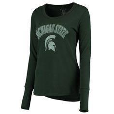 large  Women's Blue 84 Green Michigan State Spartans Thermal Long Sleeve T-Shirt