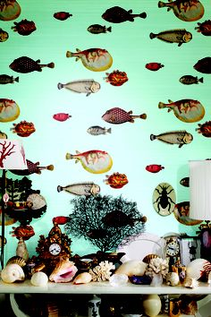 Wall covering from Acquario , Fornasetti II, Cole & Son, Goodrich Global. #GoodrichGlobal #PoshLiving #GoodDesign
