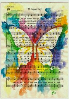 Butterfly on Inspirational Hymn O Happy Day F .- Schmetterling auf inspirierender Hymne O Happy Day 11 x 14 Fine Art Print aus Aquarell Kit Sunderland Butterfly on Inspirational Hymn O Happy Day Fine Art Print from Watercolor Kit Sunderland - Sheet Music Crafts, Music Paper, Sheet Music Art, Music Sheets, Art Music, Vintage Sheet Music, Kids Music, Music Artwork, Vintage Sheets