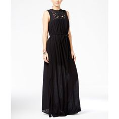Roxy Juniors' Shining Sea Sleeveless Crocheted Maxi Dress ($70) ❤ liked on Polyvore featuring dresses, true black, shine dress, macrame dress, crochet dress, sleeveless dress and roxy dress