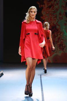 Red Ready to Wear coat and dress by Addy van den Krommenacker