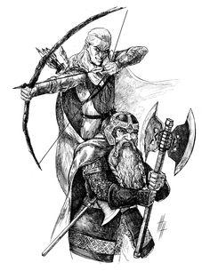 Гимли и Леголас  ArtStation - The Lord Of the Rings illustrations, Eugene Napadovskiy
