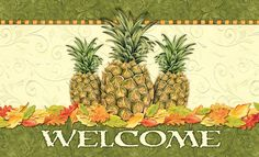 Toland Home Garden Pineapple Leaf Welcome Decorative Indoor/Outdoor Standard Door Mat, 18' by 30' >>> Click image for more details. (This is an affiliate link and I receive a commission for the sales)