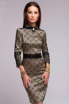 Платье золотое с черным орнаментом длины мини с камеей , бежевый в интернет магазине Платья для самых красивых 1001dress.Ru