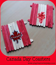 A fun and easy to make coaster craft for young children and toddlers to make for Canada Day. School Age Activities, Summer Activities, Classroom Crafts, Preschool Crafts, Daycare Crafts, Preschool Themes, Canada For Kids, Canada 150, Toddler Crafts