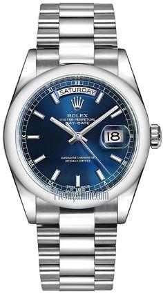 Rolex Day-Date 36mm Platinum Domed Bezel 118206 Blue Index President