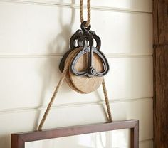 Shop rustic pulley frame hanger with rope from Pottery Barn Kids. Find expertly crafted kids and baby furniture, decor and accessories, including a variety of rustic pulley frame hanger with rope. Country Decor, Rustic Decor, Antique Decor, Farmhouse Style, Farmhouse Decor, Vintage Farmhouse, Cottage Style, Vintage Kitchen, Deco Retro