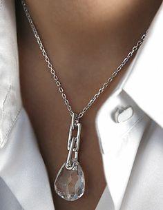 Swarovski Crystal/Rhodium Shiny Parallele Pendant Necklace