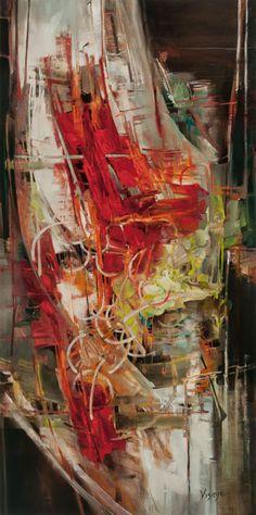 Contemporary Painter  Vie Dunn-Harr (American: 1953) -  Man on a Ledge