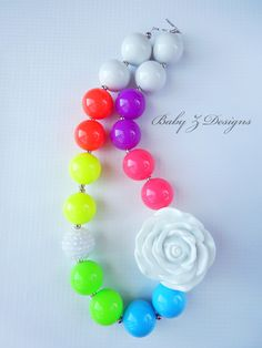 Fluorescent Rainbow Rosette Chunky Necklace - For Toddlers, Girls, or Teens. $20.00, via Etsy.