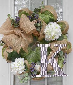 Burlap/Apple Green Mesh White Hydrangea Wreath with Chevron Monogram/Spring/Summer/Winter on Etsy, room design Burlap Crafts, Wreath Crafts, Diy Wreath, Burlap Wreath, Diy And Crafts, Monogram Wreath, Greenery Wreath, Wreath Ideas, Front Door Decor