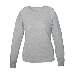 XXX-Large Hanes Womens X-Temp Thermal Crew Shirt Grey Heather