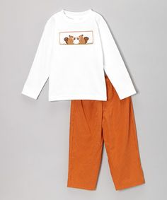 Take a look at this White Squirrel Smocked Tee & Orange Pants - Infant & Toddler by Smocked Giraffe on #zulily today!