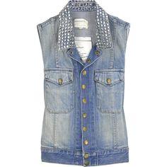 Current/Elliott The Sleeveless Snap denim jacket ($315) via Polyvore