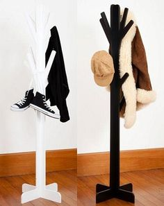 Tree hangers - adult size black and white.-adult tree hanger mocka, adults hat stand, white hat stand, black hat stand,
