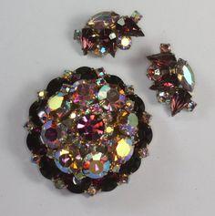 Vintage D & E Juliana Rhinestone Set Purple Aurora Borealis Stones Brooch Earrings.