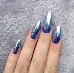 Doobys Nails - Mirror Chrome Blue Silver Long Coffin - 10 Glue on False Nails #DoobysNails