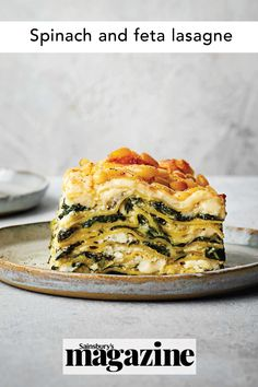 Rich and cheesy, this spinach and feta lasagne is a wonderful vegetarian dish for feeding a large group. You can easily make it ahead and it will retain its gorgeous layers. Get the Sainsbury's magazine recipe Vegetarian Lasagne, Vegetarian Italian, Vegetarian Dish, Vegetarian Recipes, Cooking Recipes, Veggie Meals, Healthy Dinners, Quick Meals, Veggie Recipes