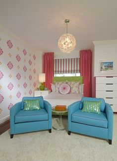 Youth Room Design Blue Chair Cushion Bed Pink Curtains