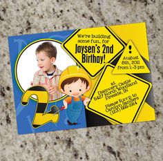 cute construction themed invite for the little 'builder' in your family!