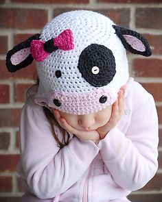 Cheap fashion knit hat, Buy Quality knitted hat directly from China hat winter Suppliers: 2016 Fashion Cute Soft Warm Newborn Kids Dairy Cow Hat Winter Cute Cartoon Soft Knitted Hat Accessories Crochet Hat Pattern Kids, Crochet Kids Hats, Baby Hats Knitting, Crochet Crafts, Crochet Baby, Crochet Projects, Knitted Hats, Crochet Patterns, Wool Hats