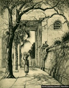 Figure 3. Elizabeth O'Neill Verner, Under the Shadow of St. Michael's (Frontispiece from Prints and Impressions of Charleston), 1923-39, 8 7/8 x 6 15/16 inches. Image courtesy David L. Hamilton. © Estate of Elizabeth O'Neill Verner, owned by Verner Gallery, Ltd.