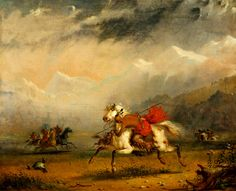 Alfred Jacob Miller Snake and Sioux Indians on Warpath oil on canvas, 1856 Thomas Gilcrease Museum ♥♥♥ Native American Art, American Artists, Jacob Miller, Native American Photography, Jeremiah Johnson, Different Kinds Of Art, Mountain Man, First Nations, Indian Art