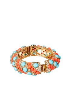 Kenneth Jay Lane Bangle In Coral and Turquoise