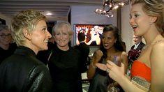 #JenniferLawrence pops up all over #Ellen's behind the scenes video recap of #Oscar night.