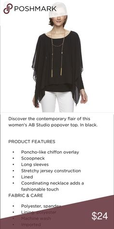 Women's AB Studio Popover Blouse with Necklace. Discover the contemporary flair of this women's AB Studio popover top. BLACK. AB Studio Tops Blouses