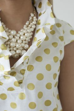 Trendy Sewing Ideas For Mom Preppy Style, Style Me, Cool Style, Classy And Fabulous, Sewing Clothes, Spring Summer Fashion, Polka Dots, Polka Dot Shirt, Pearls