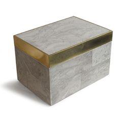 Small rectangular pastor stone box with brass detailing #accessories #box #interiordesign #stone #brass