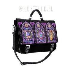 "Briefcase ""STAINED GLASS"" Gothic lolita satchel, beauty and the beast ($36) ❤ liked on Polyvore featuring bags, handbags, gothic purse, gothic handbags, satchel bag, handbag satchel and goth purse"