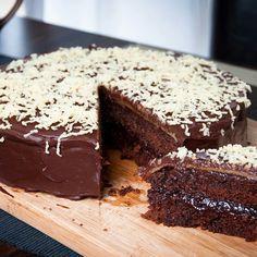 Chocolate cake with marzipan and plum jam