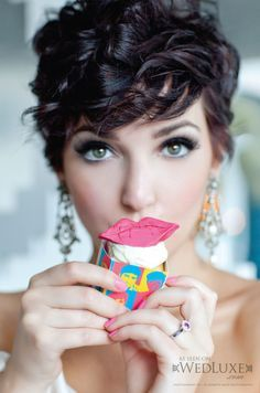 Cup cake lips are an awesome style accessory  plus that hair makes me smile
