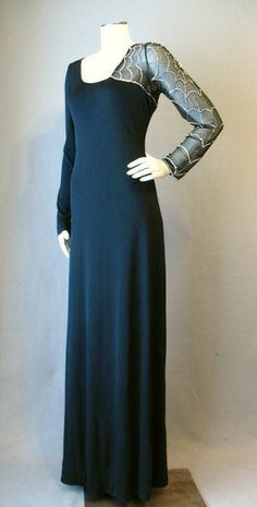 Vintage 70s Evening Gown Dress Spider Web Sleeve Small bust 37