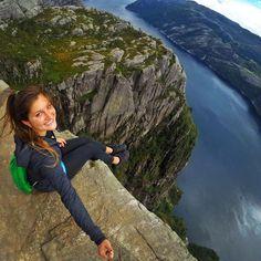 GoProGirl @livpuravida living on the edge at the Preikestolen in Norway. #GoPro #GoProGirl #preikestolen #norway #nature #mountains
