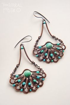 Halfflowers Turquoise copper earrings wire by TemporalFocus