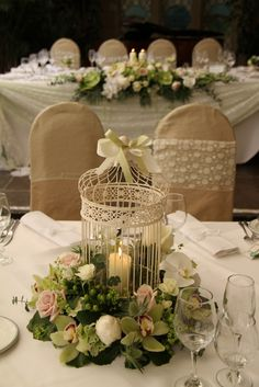 Flower Design Events Vintage Candlelit Bird Cage Table centre Piece