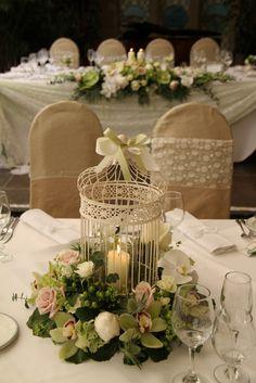 Flower Design Events Vintage Candlelit Bird Cage Table centre Piece