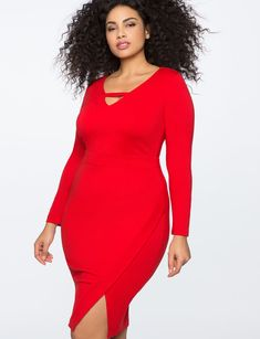 ed7407640aa 3 4 Sleeve Faux Wrap Dress from eloquii.com Plus Size Bodycon Dresses