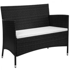 Outdoor Garden Bench Poly Rattan Black Cushion Steel Frame Patio Seating New #OutdoorBench