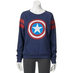 Juniors' Marvel Avengers Raglan Graphic T-Shirt ($15) ❤ liked on Polyvore featuring tops, t-shirts, raglan sleeve top, jersey top, raglan sleeve tee, graphic print t shirts and raglan top