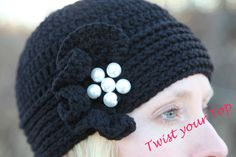 Crochet+beanie+with+divine+ruffle+with+pearls+by+Twistyourtop,+$30.00