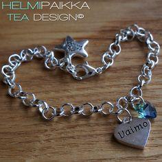 Amulettirannekoru Vaimo sydänamuletilla ja sinivihreällä Swarovskin kristallilla <3 Tilaa omaksi täältä: http://www.helmipaikka.fi/tuotteet.html?id=20641%2F3301